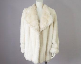 70s Vintage Faux Fur Coat. Winter Jacket (M, L)