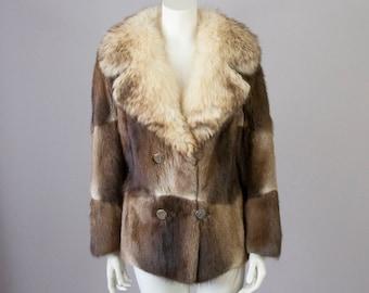 60s Vintage Patchwork Fur Coat. Short Fur Jacket (S)