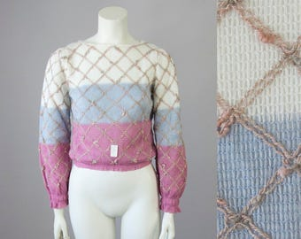 70s 80s Vintage Deadstock Color Block Diamond Knit Sweater (XS, S)