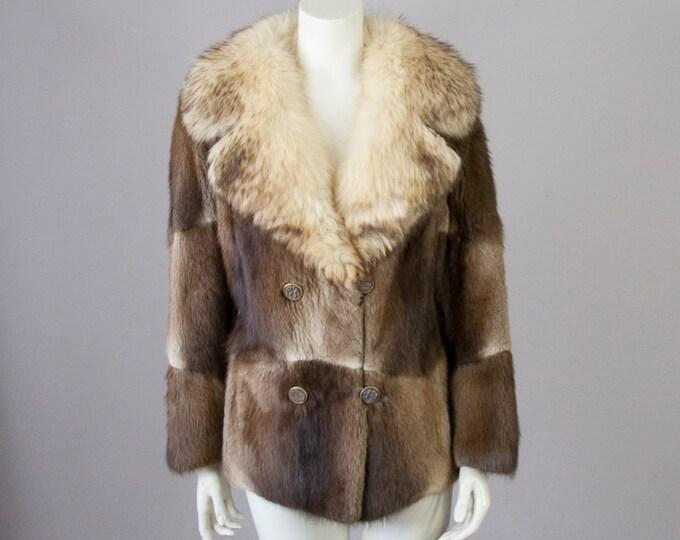 Featured listing image: 60s Vintage Patchwork Fur Coat. Short Fur Jacket (S)
