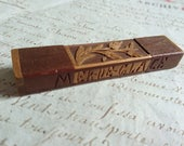 Charming antique French treen carved wooden needle case MER SUR GLACE c1880