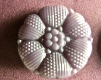 6 Mauve Czech Glass Buttons 2 Each of Three Designs for Sewing and Crafting