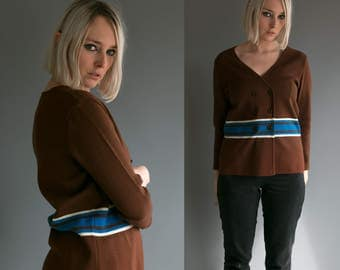 Vintage 60's Mod Brown White and Blue Button Up Wool Sweater/ Top Women's Medium Large / Retro Hip