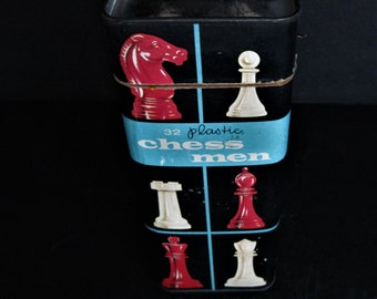 Halsam Chessmen, Plastic Chessmen, Plastic Chess Pieces, Red Chess Pieces, Knights and Pawns, Cream Chessmen, Chess Game Pieces, Chessmen