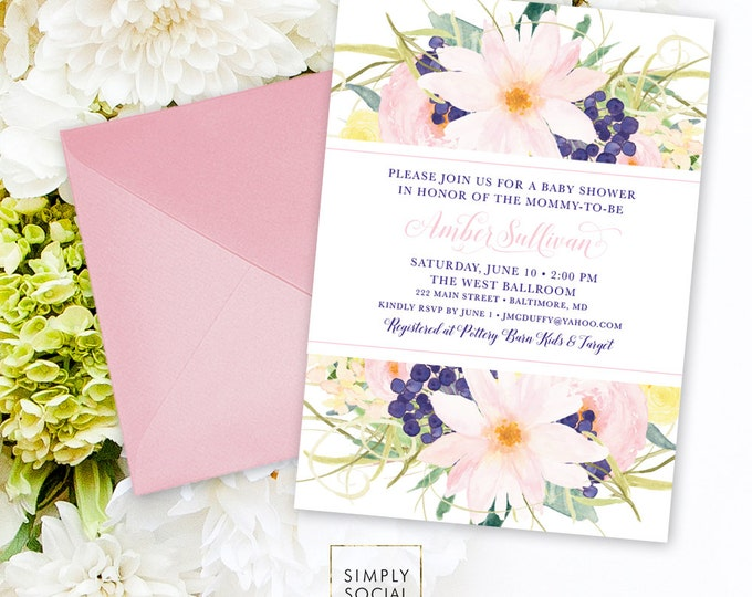 Pink and Navy Floral Baby Shower Invitation - Personalized Custom Floral Flowers Blush Modern Calligraphy It's a Girl Printable Party Invite