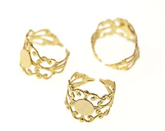 Gold Tone Brass High Quality Adjustable Filigree Lace Ring Base