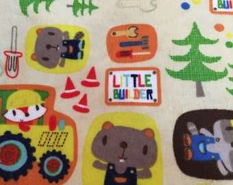 Construction Critters - Flannel Fabric -  BTY