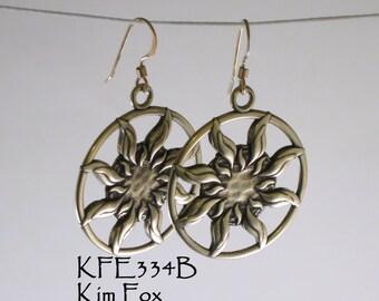 Sun Dance Bronze Earrings 1 1/2 inch by 1 1/4 inch - light weight - two sided solar earrings by Kim Fox