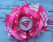 Boutique Baby Girls Layered Supergirl Hair Bow Supergirl Hair Clip Supergirl Birthday Super Hero Hair Bow Supergirl