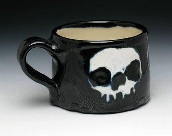 Skull Coffee Mug, Triple Skulls Teacup in Black and White Glaze