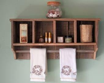 Bathroom Wall Shelf with Towel Bar, Wall Cubby, Towel Bar, Wall Cabinet, Reclaimed Wood, Rustic Wall Shelf and Towel Bar, Kitchen Shelf