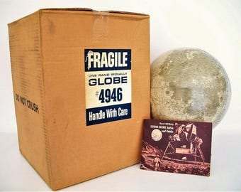 Vintage Moon/Lunar Globe 1969 Rand McNally NOS w/Original Booklet and Box