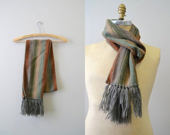 1970s Striped Wool Fringed Scarf