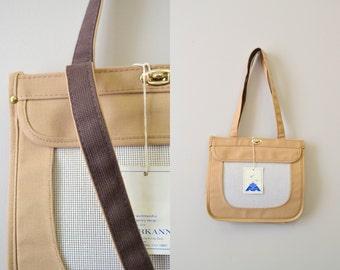 1980s NOS Markann Khaki Canvas Bag with Needlepoint Insert