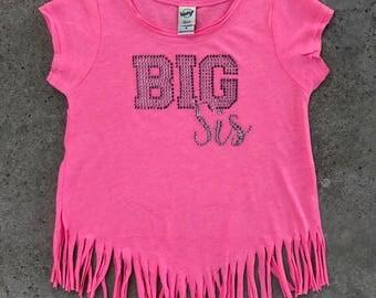 BIG Sis Fringe Shirt, Big Sister Shirt, Rhinestone Big Sis, Big Sis Bling