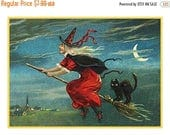 SALE Spring Stitching Digital DOWNLOAD Witch Flying on Broom Black Cat Vintage Halloween Counted Cross Stitch Chart / Pattern