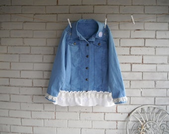denim jacket hand embelished shabby chic ladies Fall jacket mori girl casual fashion ruffled denim jacket flowers country girl wear size S