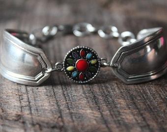 Fantastic Antique Spoon Bracelet with Colorful Sunburst Charm
