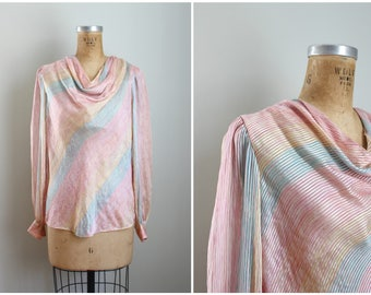 80s pastel rainbow striped blouse - silky 80s blouse / draped collar blouse - disco blouse / candy stripes - pink striped silk blouse