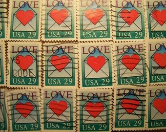 Valentine Love Stamps - Lot of 100 Heart with Envelope Used Love Stamps as Pictured