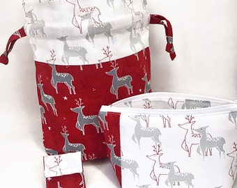 """New! 2 Piece Set """"Christmas Deer"""" Drawstring Project Bag & Zippered Notions Pouch"""