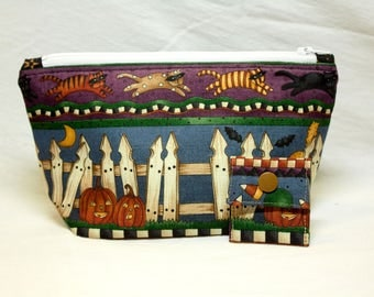 """NEW!  """"Halloween Border Print"""" Zippered Notions Wedge Bag;  PERFECT for a Swap Package! (V Series)"""