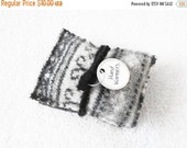 SALE TODAY Pocket Hand Warmers BLACK & White Fair Isle Felted Sweater Wool Handwarmers Rice Bags Gift for Coworker Stocking Stuffer by Worme