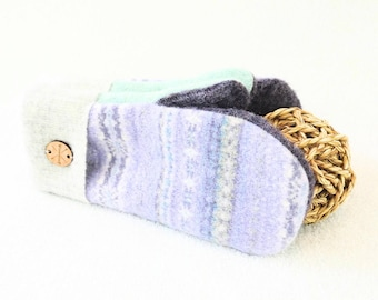 Purple Wool Mittens LAVENDER & MINT Pastel Fair Isle Felted Sweater Wool Mitts Fleece Lined Recycled Eco Gift for Women by WormeWoole