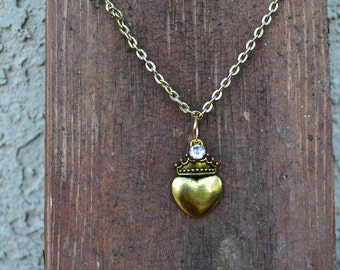 Heart Crown with Rhinestone Necklace Paris Chic Teen Bohemian
