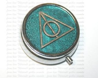 Pills box with deathly hallows sign, Pills organizer, Pill box, Pill organizer, Pill case, Silver, Round pill case