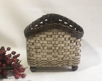 Napkin Basket / Table Top Basket / Handwoven Basket / Painted Basket / Primitive Style