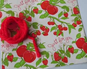 Vintage Gift Wrap & Yarn Tie ~ Fruit Strawberries and Apples
