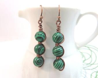 Malachite earrings -  wire wrapped bead earrings - copper wire earrings - green earrings - wire wrap earrings - malachite jewelry