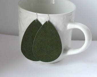 Army Green Suede Leather Teardrop Drop Earrings