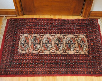 Antique wool rug- boho chic rug - red - 2 x 3