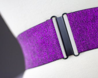Purple glitter elastic waist belt for women, stretch cinch belt for regular and plus sizes