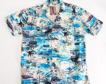 Mens Original Vintage 1950s Hawaiian Print Shirt Size XL