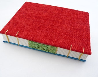 Red, blue, journal, Coptic, woven spine, notebook, faux suede