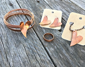 Copper hearts jewelry set, bracelet stack, ring, earrings and pendant included. Bohemian copper jewelry, copper heart jewelry