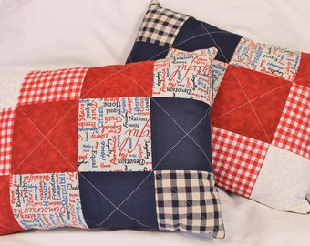 One of a Kind Set of Quilted Americana Decorative Pillows