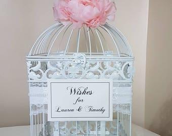 Large White Birdcage w Peony-Wedding Cardholder-Customized