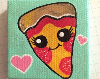 2 x 2 Inch Tiny Kawaii Sparkling Pizza Painting with Hearts
