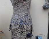 """20%OFF burning man vintage woodland pixie crochet dress/top beach cover with pixie hem,small to 40"""" bust..."""