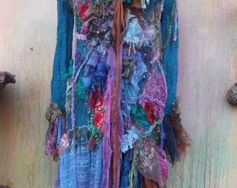 gothic bohemian boho lagenlook jacket gypsy knit jacket coat ....work of art!!