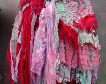 20%OFF wedding,tattered skirt, boho, mori girl, stevie nicks, bohemian skirt, gypsy skirt, white lace skirt, bellydance, wrap skirt, s, 6, 8