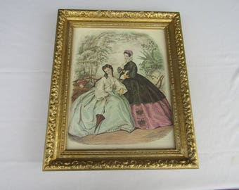 Ornate Carved Gold Wood Frame with Romantic Victorian Litho Print Leroy Imp Paris