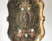 Vintage mexican tin Our lady of Guadalupe medal charm on antique upcycled golden italian frame. Blessed art