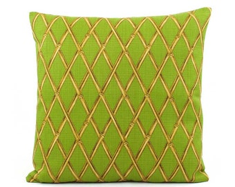 """Tommy Bahama Green Outdoor Pillow Cover 20x20"""" Lime Green, Outdoor Cushion Cover, Tropical Pillow, Hawaiian Decor, Green Pillows, Tiki Hut"""