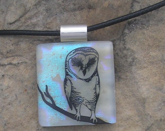 Blue Owl Necklace Fused Dichroic Glass Owl Pendant