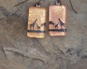 Baby Giraffe Earrings Fused Dichroic Glass Earrings Giraffe Jewelry